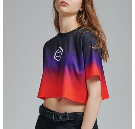 Dolly Noire Gradient Crop Top t-shirt crop da donna sfumata con logo