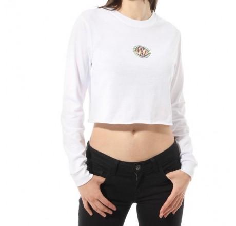 Vans Ovaloid t-shirt a manica lunga crop da donna con stampa sulla schiena
